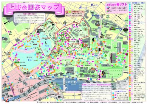 上野公園の桜マップ