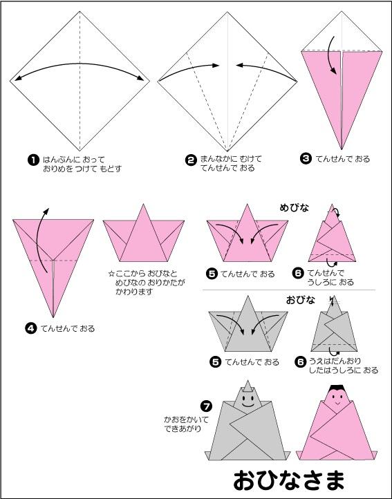 折り紙で簡単に出来るひな人形 ... : 折り紙でひな祭り : 折り紙